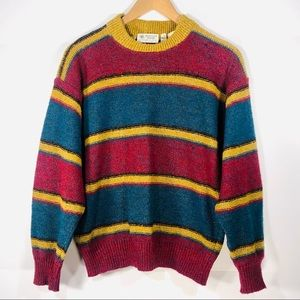 Vintage Wool Alpaca Striped Crew Neck Sweater 48